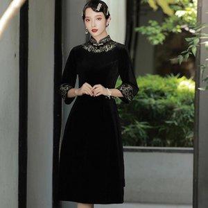Ethnic Clothing Chinese Style Velour Qipao Sexy Flower Cheongsam Women Oversize Evening Party Dress Gown Mandarin Collar Autumn Vestidos