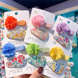 2 Pcs Simple Beautiful Colorful Flower Lace Children Duckbill Clip Fashion Sweet Girl Floral Fabric BB Clips Hair Accessories 1687 B3