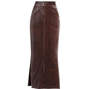 Skirts Plus Size 5XL!Corduroy Package Hip Skirt Women Spring Autumn High Waist Gold Velvet Split Pencil Office Lady