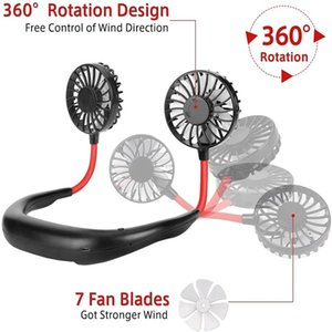 Wholesale mini USB Portable Ventilateur à col mains libres de mains rechargeables batterie Petits ventilateurs de sport 2000ma de bureau climatiseur
