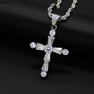Hip Hop CZ Stone Paved Bling Iced Out Stainless Steel Cross Pendants Necklaces for Men Rapper Jewelry Drop Shipping