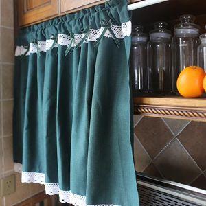 Curtain & Drapes American Style Coffee Short Decorative Cabinet Small Window Dark Green Half