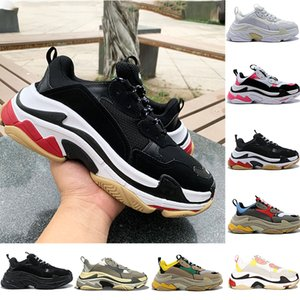Fashion Triple S Platform Sneakers Hommes Femmes Noir Blanc Rouge Gris Beige Vert Jaune Vintage Vintage Hommes Ourdoor Running Shoes US 6-12