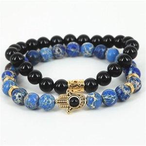1Lot Fashion 8mm Natural Stone Bracelet Skull Hamsa Tong For Men Charm Yoga Jewelry Bracelets