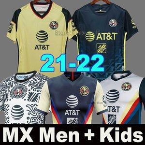 2021 2022 Club America Futbol Formaları F.VINAS HENRY Liga MX 20 21 RODRIGUEZ América üçüncü Forma Kaleci GIOVANI erkek + çocuk kiti Futbol Gömlek
