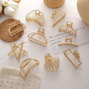 Vintage Gold Color Metal Geometric Hair Claw Clamps For Women Star Shell Hollow Crab Clip 2021 Fashion Accessorie Clips & Barrettes