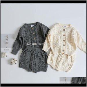 Ins Est Kids Boys Girls Sweaters Clothng Sets Oblique Buttons Long Sleeve Cardigans Straps Shorts 2Pieces Suits Akioe E30Dv