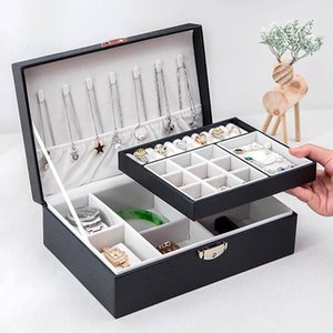 Double-Layer Jewelry Box With Lock Watch Ring Earring Nail Necklace Storage Princess European Style Korean Boxes & Bins