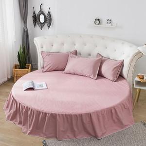 Хлопковая юбка для кровати Установленная листовая круглая белье 200см 220 см. Острые кроватки Матрас крышка дома декор розовый белый серый двойные листы