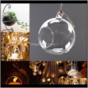 Holders Décor Garden Drop Delivery 2021 Clear Hanging Candle Tea Light Holder Candlestick Home Wedding Party Dinner Decor Round Glass Air Pla