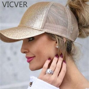 cap ponytail open back net with leaky braid duck tongue Baseball Cap sun hat outdoor solid color