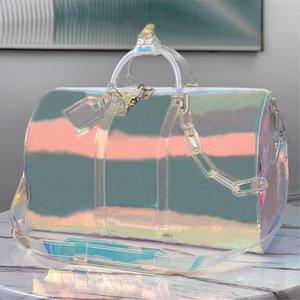 Hombres clásicos Flash Flash PVC Duffel Bolsos Bolsos 50 cm Transparente Bolsa de lona Transparente Color Brillante Equipaje Tela Viaje Crossbody Hombro Hombro Bolso de mujer
