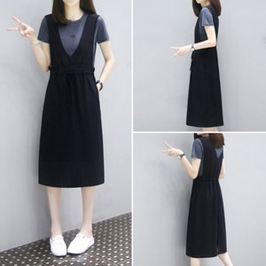2021 Spring Summer Tee Mid Length Loose and Thin Two Piece Set with Strap Skirt Top Fashion Casual Dress for Women