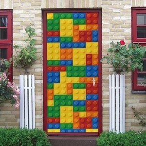 Adesivos decorativos Módulo ambiental 3D Criativo Lego Proteção De Porta Renovação Self Adhive Quarto Parede PVC Etiqueta