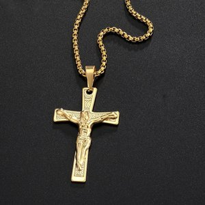 Silver Color Gold Plated Cross Christ Jesus Pendant Necklace Stainless Steel Link Box Chain Men Crucifix Jewelry Gift Dropshipping