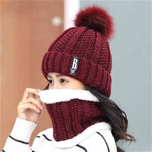 Set 2 Anti-fog Hats Women Winter Beanies Velvet Thick Bib Mask Skullies Beanie Hat Dustproof Female Warm Knitted Wool Cap Cycling Caps & Mas