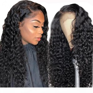 150% density Deep Wave brazilian Lace Front Human Hair Wigs for Black Women Preplucked Glueless Brazilian Curly HD 360 Lace frontal Wig