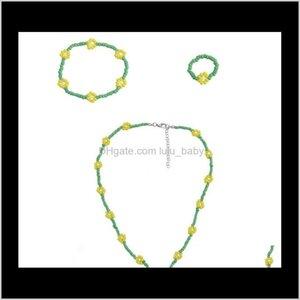 & Fashion Simple Beads Strand Flower Bracelet Ring Set String Beaded Short Women Necklace Jewelry 66Dgz 5Awvr