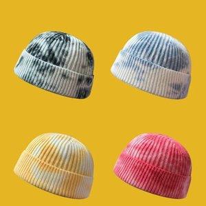 Kravat Boyalı Yün Şapka Kış kadın Kalınlaşmış Ins Hava Soğutmalı Trend Kavun Cilt erkek Sıcak Örme Beanie / Kafatası Kapaklar