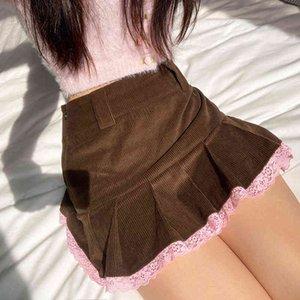 Faldas plisadas pana marrn Y2K mujer, Mini borde encaje para falda con dobladillo, ropa Kawaii Vintage de los 90