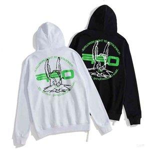 Sudaderas de moda fuera de la cabeza de conejo letra verde y suéter para hombres y mujeres WO L8