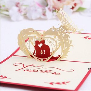 3D Valentines Day Greeting Card Pop-up Card Valentines Day Gifts Confession Greeting Card 15*10cm Wedding Supplies DHE8703
