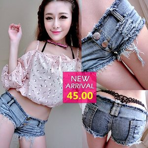 New Sexy Plush Edge Wash Low Waist Jeans Night Club Pole Dance Hot Super Shorts Women's Pants