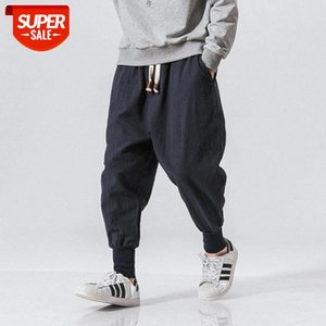 Cotton Harem Pants Men Solid Elastic Waist Streetwear Joggers New Baggy Drop-crotch Casual Trousers Dropshipping #t18c