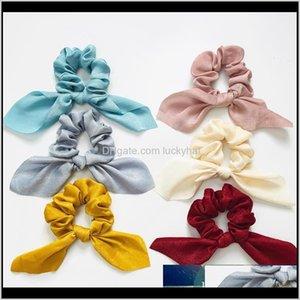Women Chiffon Scrunchie Rubber Elastic Bands Fashion Tie Bowknot Holder Girl Ribbon Hair Accessories Headwear Jewelry Poe8W 3Ycah