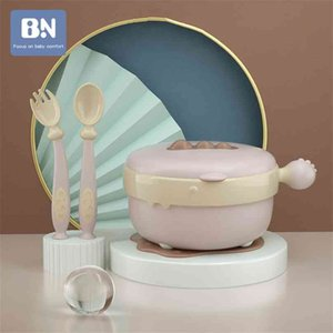 BN Baby Bowl Injection Water Insulation Keep Warm Children's Tableware Waterproof Suction Spoon Set Feeding Dishes 210913