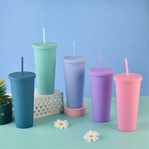 22oz SKIN TUMBLERS Mugs Matte Colored Acrylic with Lids and Straws Double Wall Plastic Resuable Cup jerseyproshop