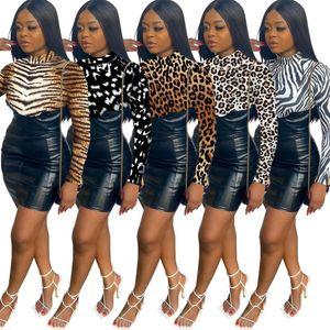 Women Dresses PU Leather Skirts Leopard Designer Clothes 2021 Fashion Printed Back Open Hidden Zipper Hip Dress Slim Clothing