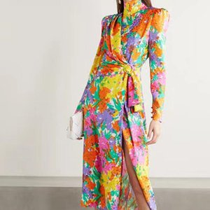Casual Dresses 2021 Fall Runway Style Bohemian Retro Print Long Sleeve Slim Temperament Mid-Length Dress High Quality Women'S Clothing