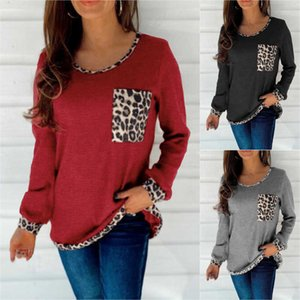 Autumn Women's Long Sleeve T-shirts Fashion Round Neck Patchwork Leopard Print Ladies Sweater Shrits Outdoor Sports Casual Clothes G93H2F7