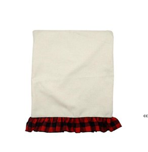 Christmas Decorations Sublimation Linen Chair Cover with Red Side 17.5*20.6inch Thermal Transfer Blank Cushions Heat Printing DHF10701