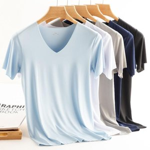 Men T Shirt Fitness Elastic Ice T-shirts Mens V Neck Short Sleeve For Male Micro Fiber Tshirts M-5XL Clothing Men's