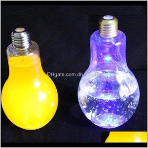 Bottles Led Light Bulb Plastic Milk Juice Water Bottle Disposable Leakproof Drink Cup With Lid Creative Drinkware Wholesale 1Mc4S U9Wz8