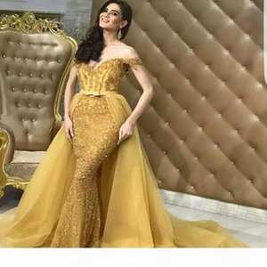 2019 Arabic Sweetheart Off Shoulder Mermaid Dresses Evening Wear Lace Sequins Beaded Organza Prom Celebrity Gowns With Detachable Overskirt