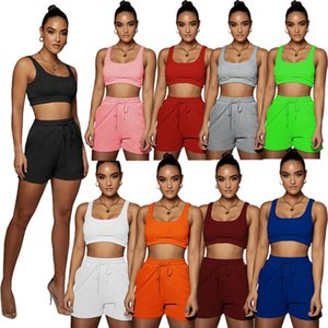 Summer Camisole Outfits Tank top Tracksuits Women 2 piece set Scoop Neck Sweatsuits Running Joggers Yoga Sportswear Sexy Jersey Sleeveless Clothing With logo 4759