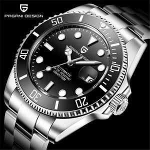 Наручные часы Pagani Design Мужские Часы Автоматические Черные Часы Нержавеющая Сталь Водонепроницаемый Деловой Спортивный Механический наручные часы