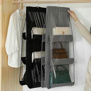 Sacos de suspensão dobrável 6 bolsos 3 camada de prateleira dobrável saco bolsa de bolsa de bolsa de organizador de porta de bolso de embalagem Gancho de armazenamento wy1246