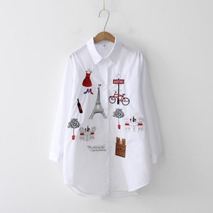 Fashion Embroidery Women Blouses Cotton Shirts 2021 Spring Fall Female Casual Ladies Tops Blusas Mujer Women's &