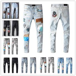 2021 Mens Designer Jeans Distressed Ripped Slim Fit Motorcycle Biker For Men s Fashion Top Quality Brand 8 Colors Denim Pants