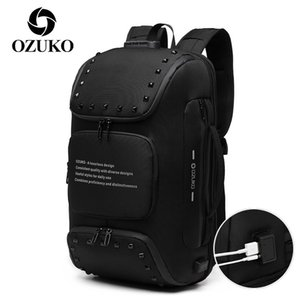 OZUKO Men's Anti Theft Backpack USB Charging Travel Laptop Bagpack Male Multifunction Bags with Shoe Pouch Waterproof Backpacks 210309