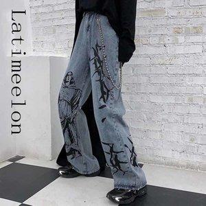 Latimeelon Estate Fashion Ins Street Hip-Hop Stampa Lavaggio Lavaggio Jeans allentato Casual Harajuku Divertente Denim Wide Gambo Pantaloni Tide Donna