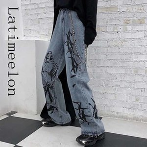 LatimeElon Summer Fashion In Street Hip-Hop Imprenta Lavado Pantalones vaqueros sueltos Casual Harajuku Denum Denim Pantalón ancho Pantalón Tide Mujer