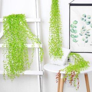 Decorative Flowers & Wreaths 100cm Wicker Decoration Simulation Green Leaves Rattan Suit Wedding Plant Home