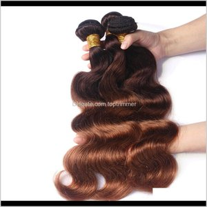 Bulks Extensions Products Drop Delivery 2021 Zhifan Expressions Brazilian Ombre Braiding Real Human Hair Wefts Weave Body Wave 4 30# Color Zb