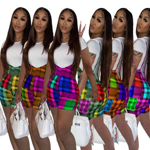 women two piece pants set 2021 spring and summer positioning printing sling color matching Plaid Shorts + T-shirt short sleeve suits