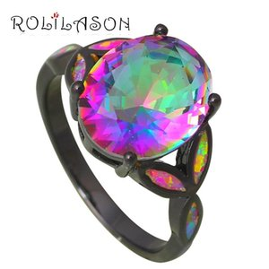Cluster Rings Silver Stamped Jewelry Mystic Rainbow Crystal Charming Pink Fire Opal USA Size #5#6#7#8#9 Fashion OR765